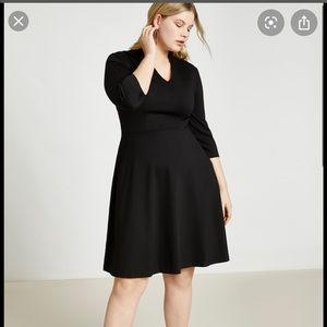 Eloquii Black V-Neck dress with half sleeves